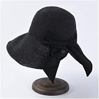 Summer Sun hat Female Hand Hook Foldable Sun Visor Japanese Bow Big Straw hat Holiday Beach hat` TuanTuan (Color : Black)