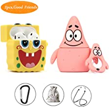 Airpods Case,Rcligent Silicone Cartoon Cover for Apple Airpods 1&2,Cute Funny Character Protective Case Designed for Kids Girl and Boys(Spongebob and Patrick Star)