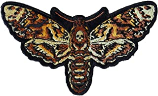 Small Psycho Moth Patch with Skull - 4.5x2.7 inch - Embroidered Iron on Patch