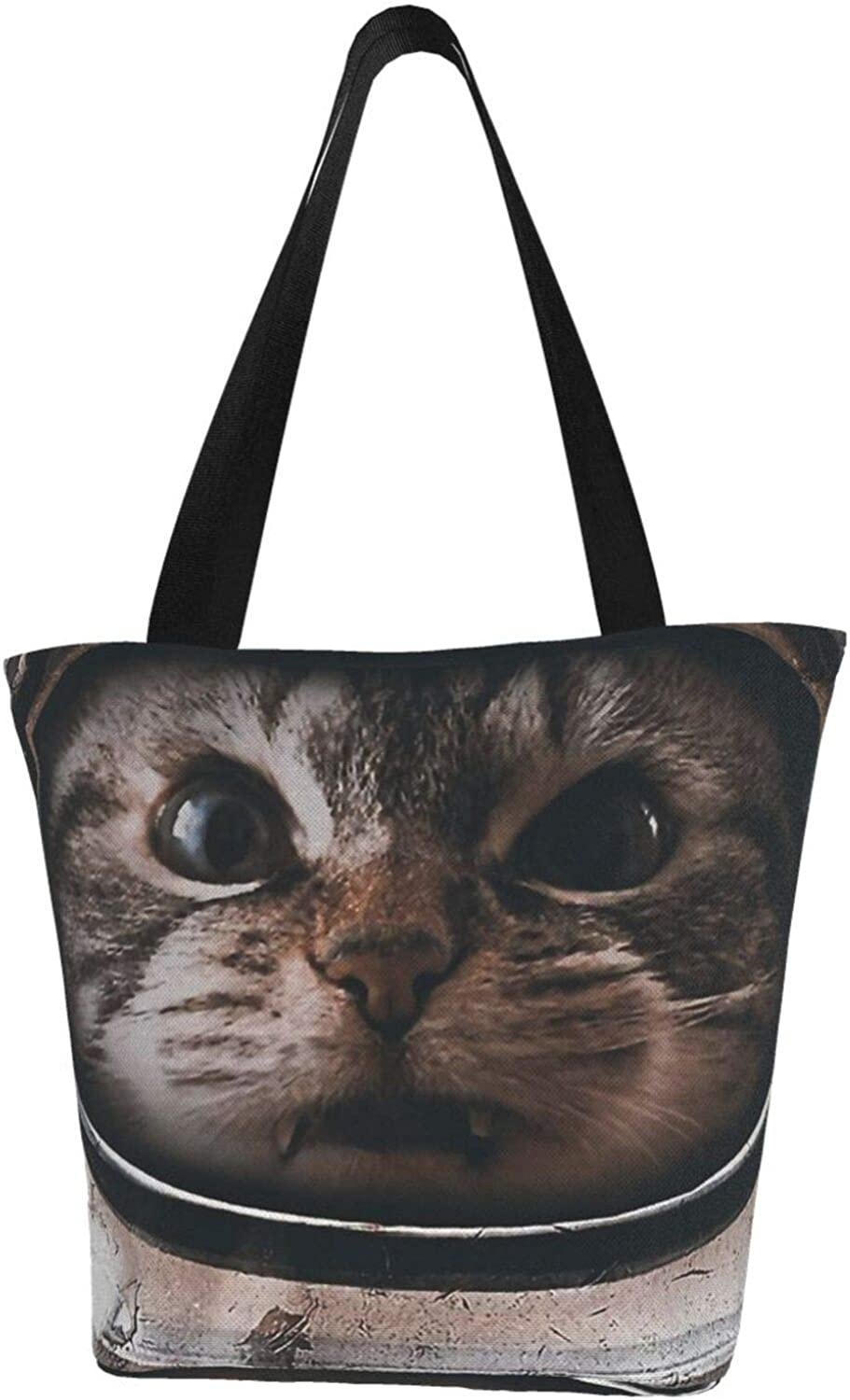 Astronaut Space Cat Funny Themed Printed Women Canvas Handbag Zipper Shoulder Bag Work Booksbag Tote Purse Leisure Hobo Bag For Shopping