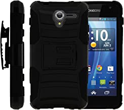 TurtleArmor | Compatible with Kyocera Hydro View Case | Hydro Reach Case | Hydro Shore Case [Hyper Shock] Hybrid Dual Layer Armor Holster Belt Clip Case Kickstand - Black