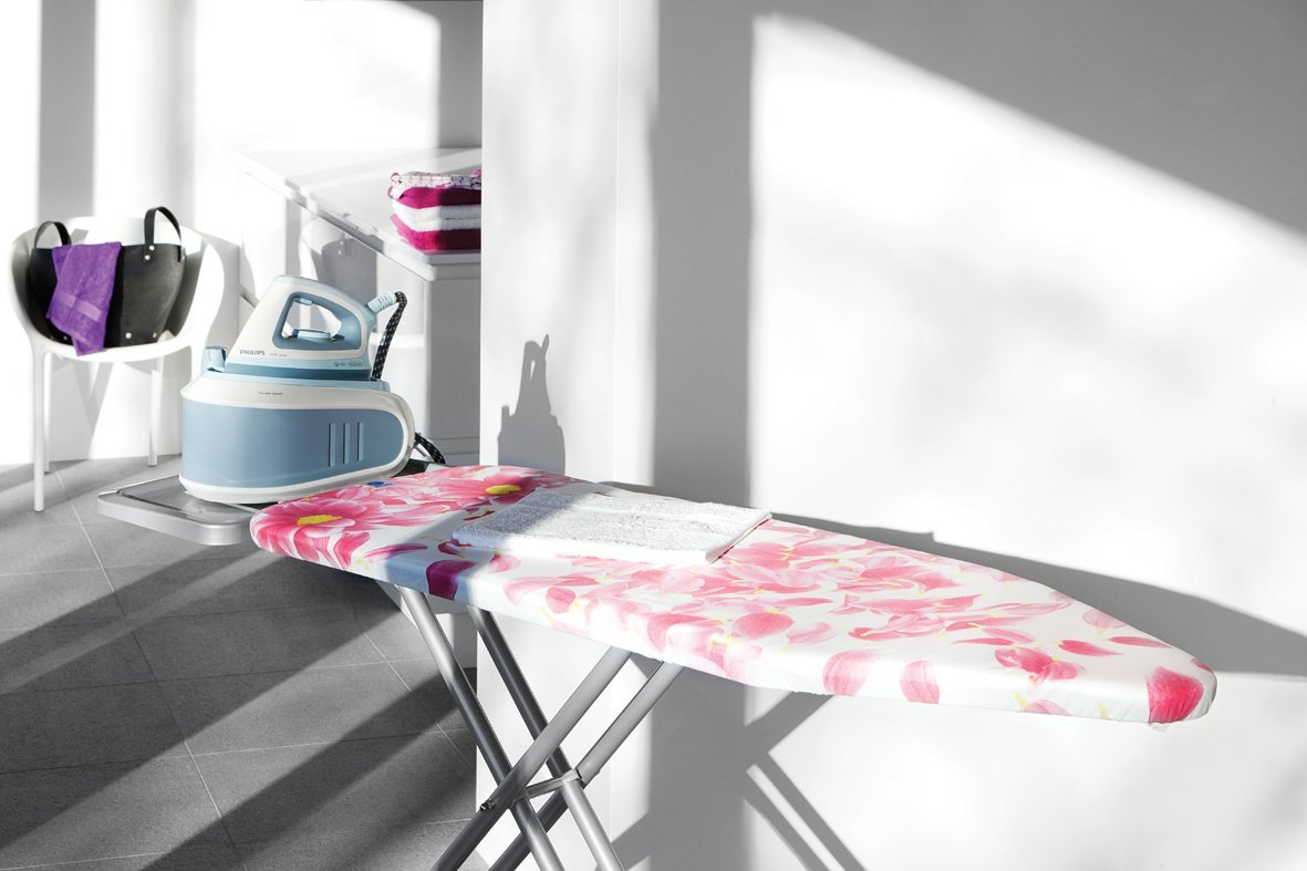 Brabantia Size C (124 x 45cm) Replacement Ironing Board Cover with Durable 2mm Foam Layer (Pink Santini) Easy-Fit, 100% Cotton