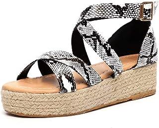 9a3747071 Sandalias Mujer Plataformas Cuña Verano Tacón Alto 5 CM Piel Punta Abierta  Tobillo Plano Zapatos Playa