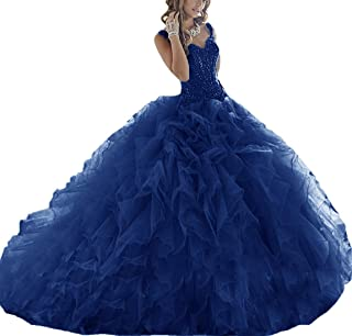 Quinceanera Dresses Long Prom Party Dress Sweet 16 Crystals Beads Formal Ball Gowns Orangza