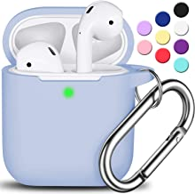 AirPods Case Cover with Keychain, R-fun Full Protective Silicone AirPods Accessories Skin Cover for Women Girl with Apple ...