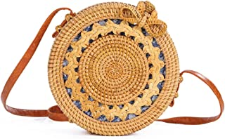 Sturdy Fashion Beach Handbag PU Shoulder Strap Adjustable Length Hand-Woven Rattan Handbag Hollow Sun Flower Round Cross-Body Handbag Large Capacity (Color : Brown, Design : B)