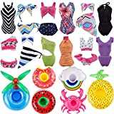 E-TING Fashionistas 11PCS Doll Clothing Pack, 3 Sets 11.5' Girl Dolls Swimsuits with 5 Pairs Shoes and 3-Pieces Cute Swimming Pool Float Raft Lilo Lifebuoy Random Style