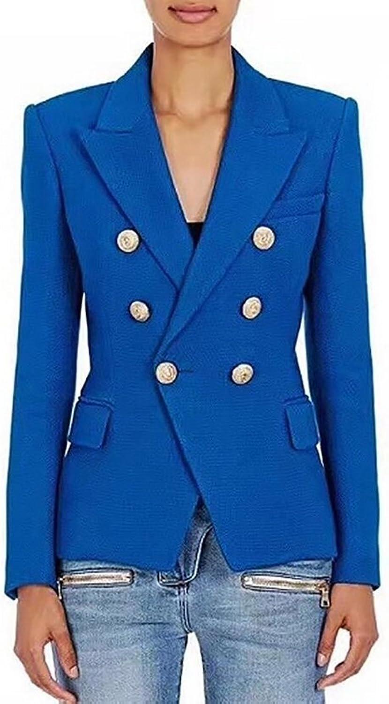 WSPLYSPJY Women's Autumn Double Breasted Slim Fit Blazer Casual Work Peplum Crop Jacket