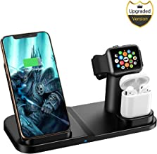 Wireless Charger, 3 in 1 10W Qi-Certified Fast Wireless Charger Stand Compatible iPhone XR/XS Max/XS/X / 8/8 Plus/Apple Watch/Airpods
