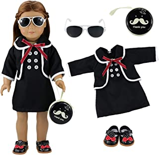 BARWA Black School Dress Outfits Clothes and Accessories School Sets Pack of 4 Pieces for 18 inch Dolls