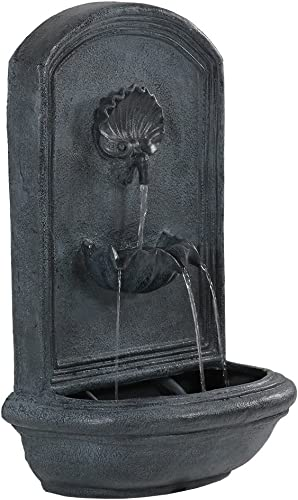 Sunnydaze Seaside Solar with Battery Backup Outdoor Wall Mounted Water Fountain - Outdoor Water Feature with Rechargeable Solar Battery - Lead - 27-Inch
