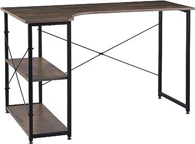 WOLTU TSB34srs Table de Bureau Poste de Travail en Bois et Acier, Table pour Ordinateur avec 2 Étagères de Rangement Noir+Rou