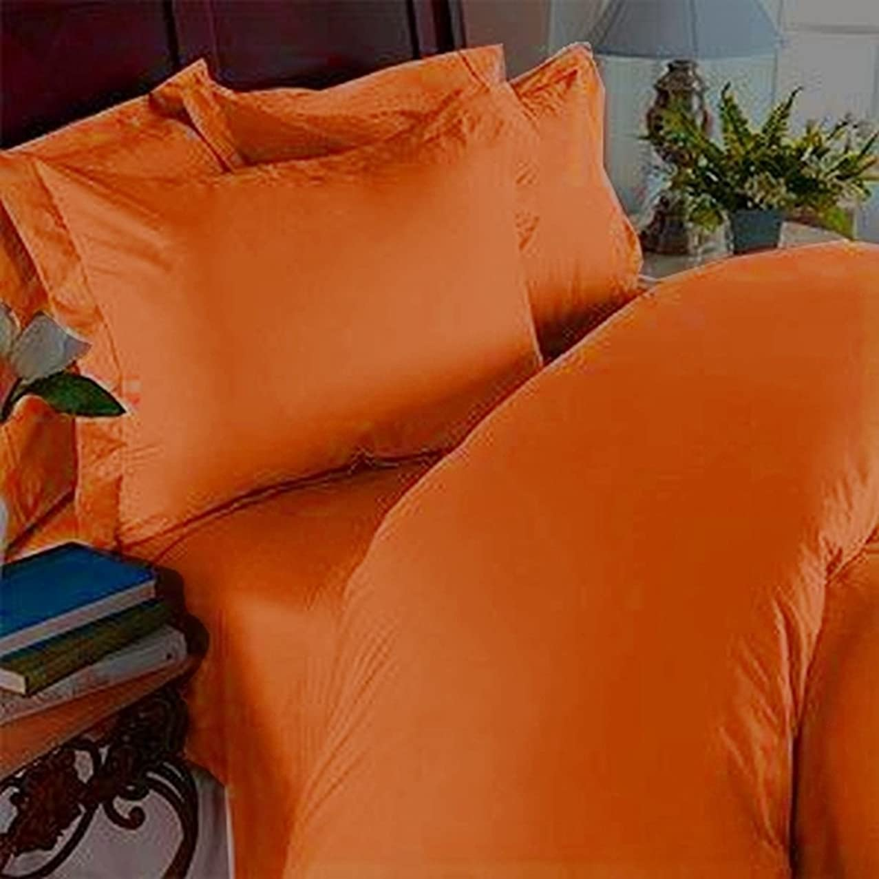 Elegant Comfort 4 Piece 1500 Thread Count Luxury Silky Soft Egyptian Quality Coziest Sheet Set, Full, Elite Orange