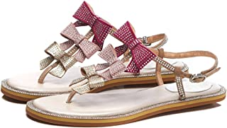 GLJJQMY Women's Leather Roman Sandals Summer Flat with Thong Sandals T with Gradient Bow Sandals Beach Holiday Casual Shoes 34-39 Yards Women's Sandals (Color : Pink, Size : 38)