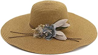 Summer hat 2019 Flower Prominent Wing Cap Ladies Summer Stubble Hat Youth Cap Ladies Sun Hat Beach Hat hat (Color : Coffee, Size : 56-58CM)