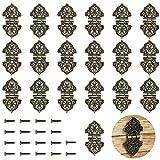 PGMJ 20 Pieces Antique Decorative Hinges Bronze Engraving Design Box Hinges Jewelry Box Ha...