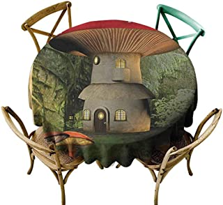 W Machine Sky Picnic Cloth Mushroom,Shroom House in Enchanted Forest wih Ladybug and Snail Whimsical Tree, Red Pale Coffee Green Diameter 60
