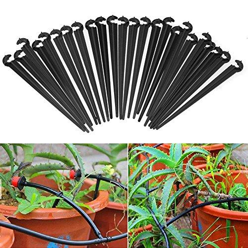 Demiawaking 100 pcs 4/7 mm Micro Hose Clips Crochet fixe tiges support pour tuyau d'arrosage de goutte, longueur 11 cm