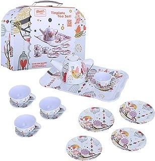 NszzJixo9 Children's Pretend Toy Deluxe Afternoon Tin Tea Set & Carry Case-Bird Flower, Tinplate Tea Set, Fairy Tale Picnic Basket and Tea Set [Ship from USA]