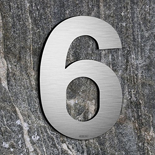 qoboob® Edelstahl Hausnummern 6 Sechs oder 9 Neun Straße Nummer Fein gebürstet Silber 200mm (1 Stück)