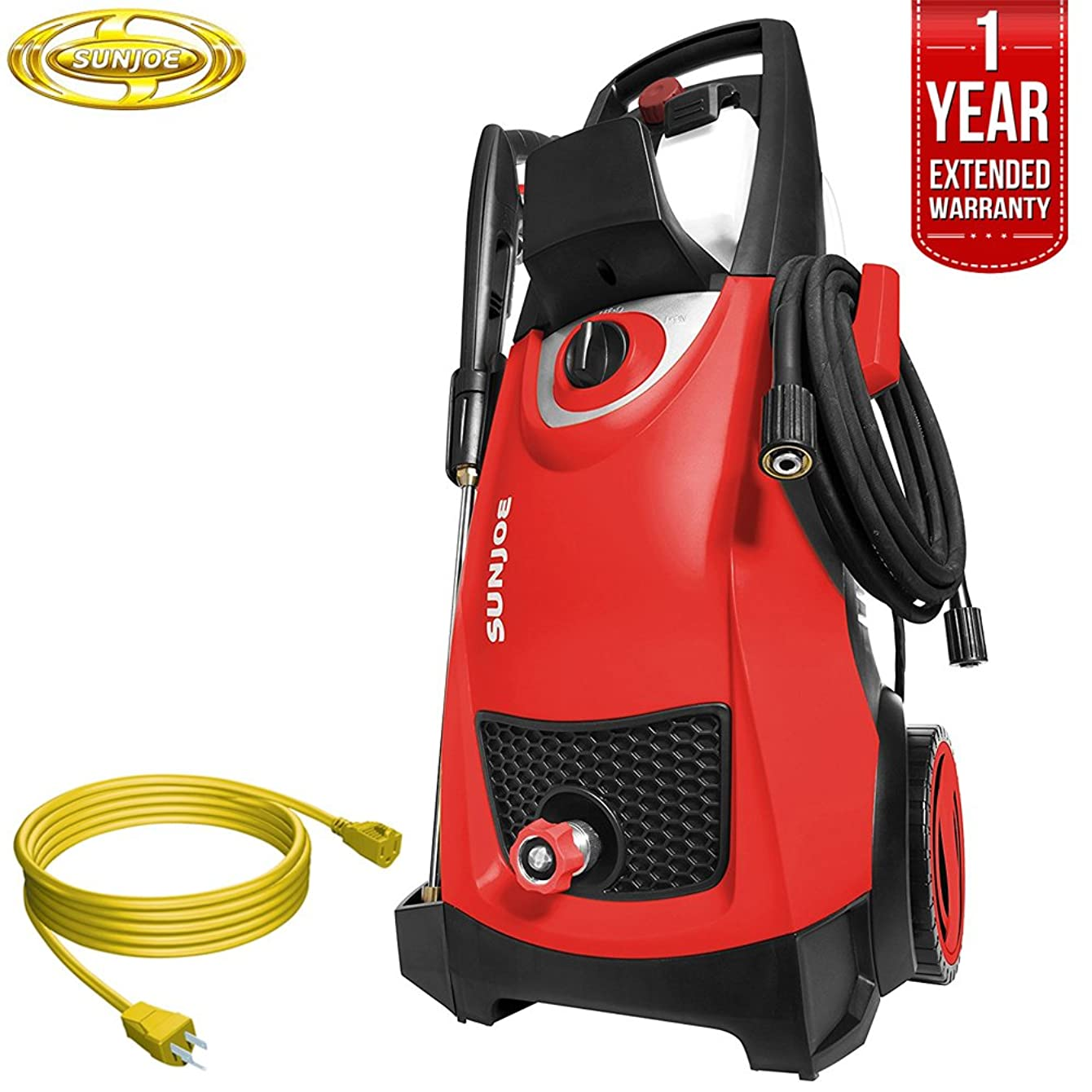 Sun Joe SPX3000 Pressure Joe 2030 PSI Electric Pressure Washer All You Need Bundle with 25 Foot Outdoor Extension Cord and One Year Warranty Extension (Red)