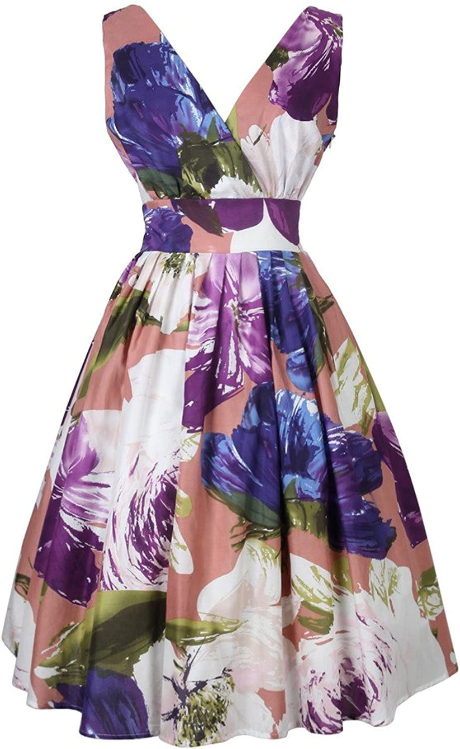 QUEENOFHOLLOW 1950 Vintage Thin cotton vneck White with purple flower women's dress