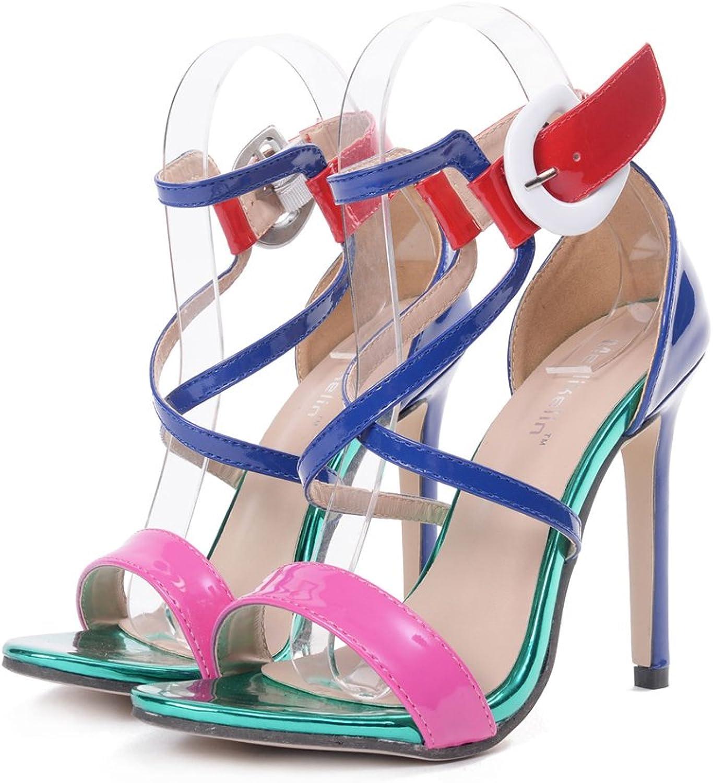 Sexiga hög klack -sandaler för dammodepumpar Öppna Toe Toe Toe Ankle Strap Buckla Stiletto Dress skor  shoppa nu
