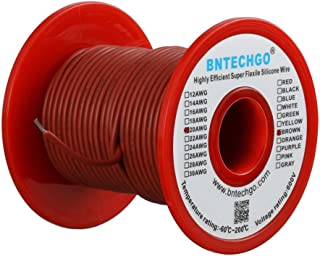 BNTECHGO 20 Gauge Silicone wire spool 100 ft Brown Flexible 20 AWG Stranded Tinned Copper Wire