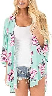 CUCUHAM Women Chiffon Loose Shawl Print Kimono Cardigan Top Cover Up Blouse Beachwear