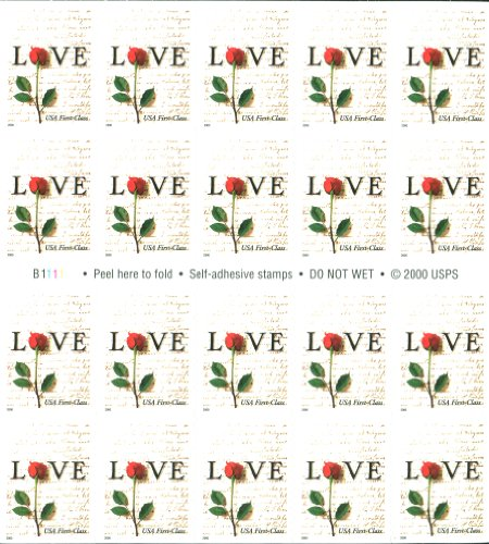 Red Rose and Love Letters Pane of Twenty 34 Cent Postage Stamps Great For Weddings Scott 3496 By USPS