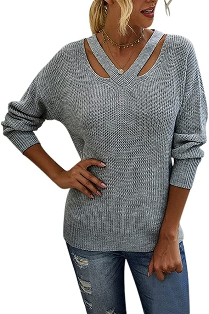 NP Autumn Winter Women Loose Knitted Sweaters Lady Neck Hollow Long Sleeve