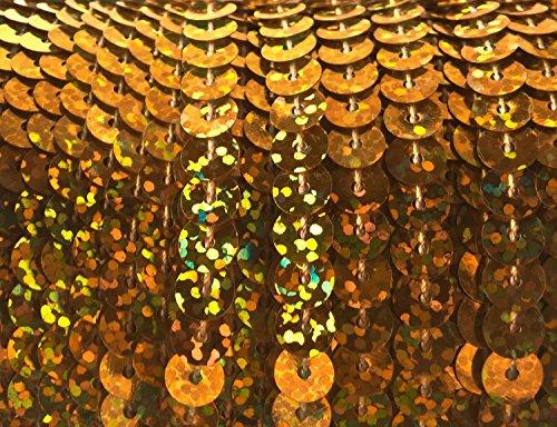 90 Meter langes, farbiges Paillettenband mit Hologramm-Effekt auf einer Rolle aufgewickelt - 6 mm breites Bortenband - Glänzende Paillettenbänder für Bastelprojekte, Tanzbekleidungen uvm. (Gold Holo)