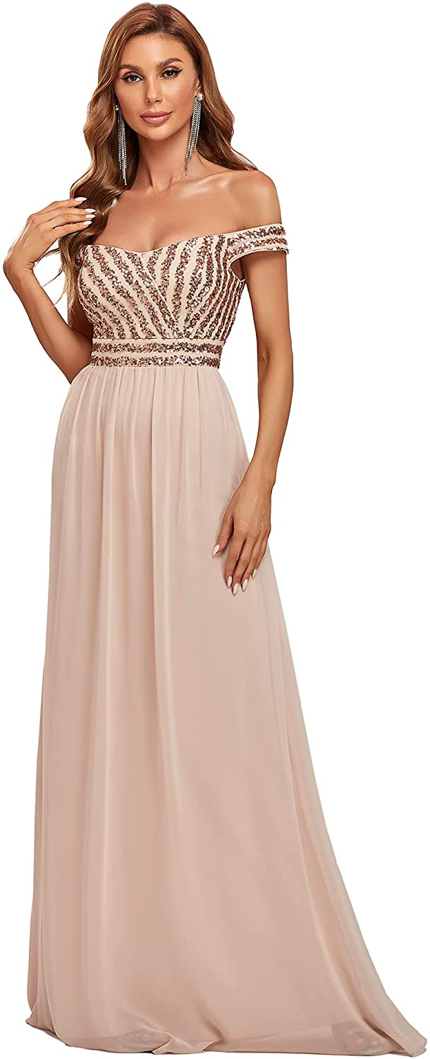 Ever-Pretty Women's Maxi A Line Sequin Off Shoulder Chiffon Evening Dress Wedding Party Gowns 50067