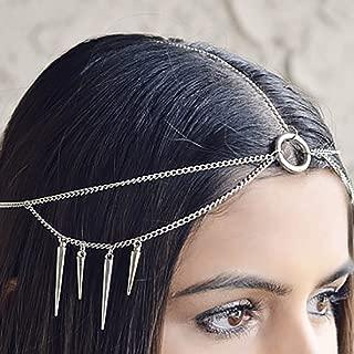 Fdesigner Punk Dangle Head Chain Silver Halloween Hair Accessories Fashion Wedding Hair Jewelry Boho Headpiece for Women and Girls