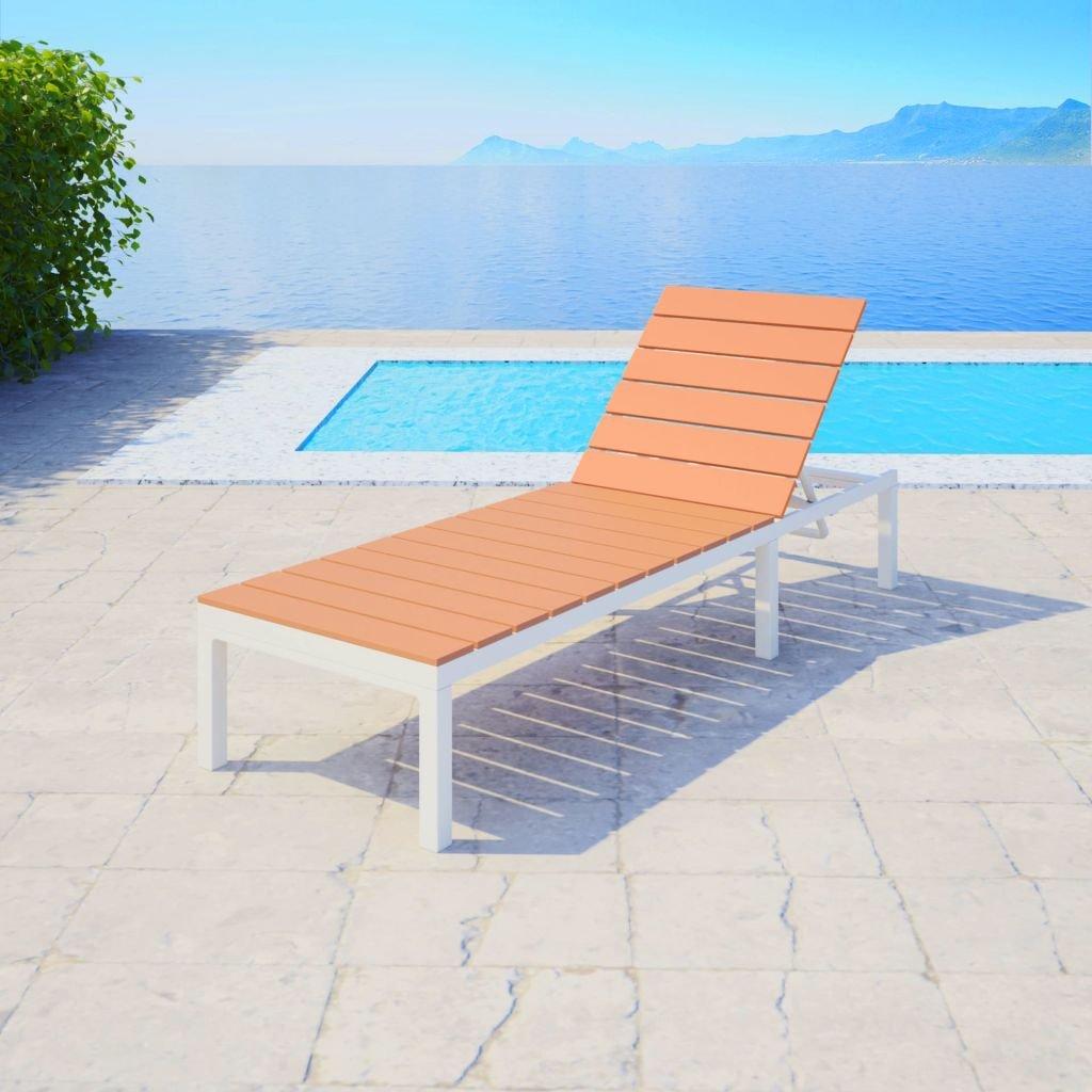 dondans - Muebles de jardín, Asientos de Exterior, Tumbona de Aluminio, WPC Blanco y marrón, Material: Aluminio + WPC (Compuesto de Madera y plástico): Amazon.es: Jardín