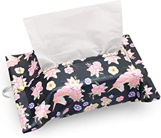 Trendypie Unicorn Flower Rectangular PU Leather Facial Tissue Box Cover Decorative Tissue Holder Napkin Holder for Bathroom Bedroom Office Car Automotive