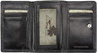 Made in Italy - Portafoglio donna in pelle 12x8 cm - RINA V - Prodotto artigianale fiorentino (Nero)