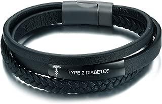 Black Handmade Braid Genuine Leather Medical Symbol Alert Cuff Bangle Bracelet for Men Women