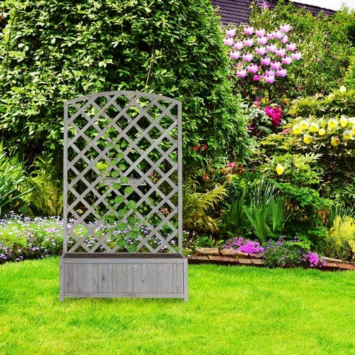 relaxdays Enrejado de jardín con macetero XL, Soporte para trepadoras, 153 x 90 x 35, 5 cm, Gris: Amazon.es: Jardín