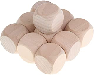 10 Piece Cubes Blank Plain D6 Dice Unpainted Wood Suit for Toys Printing Engraving Write Painting DIY Family Game