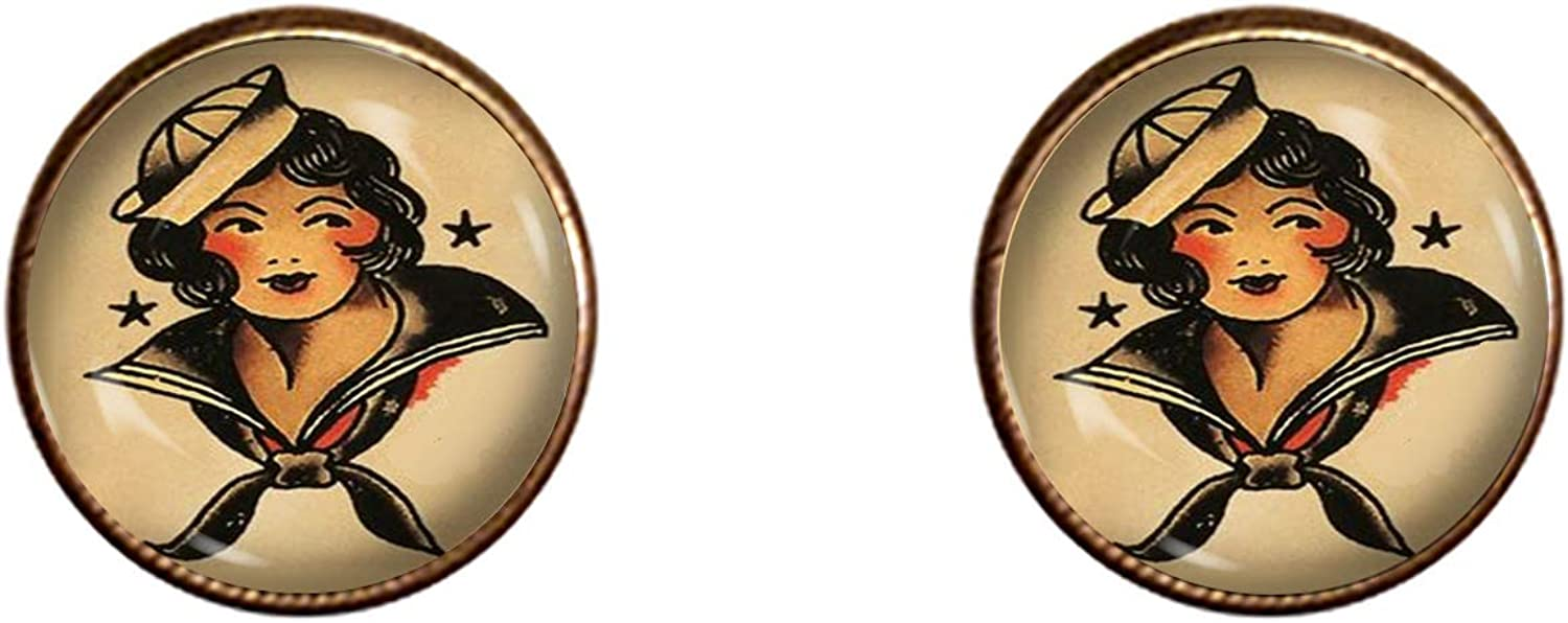 Sailor Jerry Cuff Links Handmade Gift USN Jewelry Pendant Charm Gifts