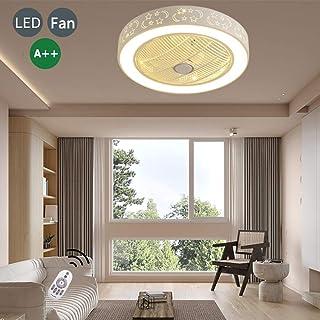 Lámparas Ventilador Iluminación LED 36W La Luz Ventiladores Atenuación Ultra Silenciosa Gris Ventilador Techo De Temporización Redonda Adecuado Para Lámparas De Araña Para Habitaciones Bebés