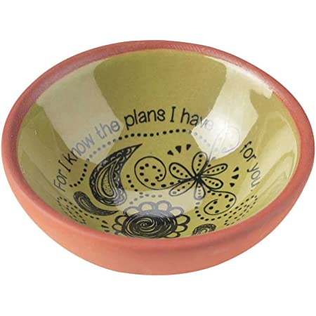 Blessed One Who Perseveres James 1:12 Mint Green 3 x 3 Terra Cotta Bird Shaped Decorative Bowl Tray