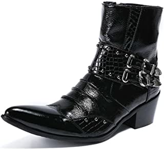 Winklepicker High Top Leather Boots Martin Boots Men Pointed Toe Rivets Belt Buckle Zipper Genuine Leather Business Casual Shoes Dress Shoes Knight Shoes EU Size 37-46