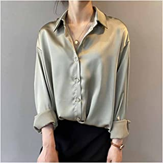 Vintage Elegant Office Ladies Solid Satin Shirts Women Blouses Long Sleeve Loose Tops (Color : Green, Size : Large)