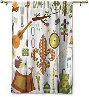S Brave Sky Living Room Roman Curtain,Fleur de Lis,Camping Equipments Boy Scout Campfire Symbol Fishing Lure Fancy Decorations Lake,Brown Mustard Green White