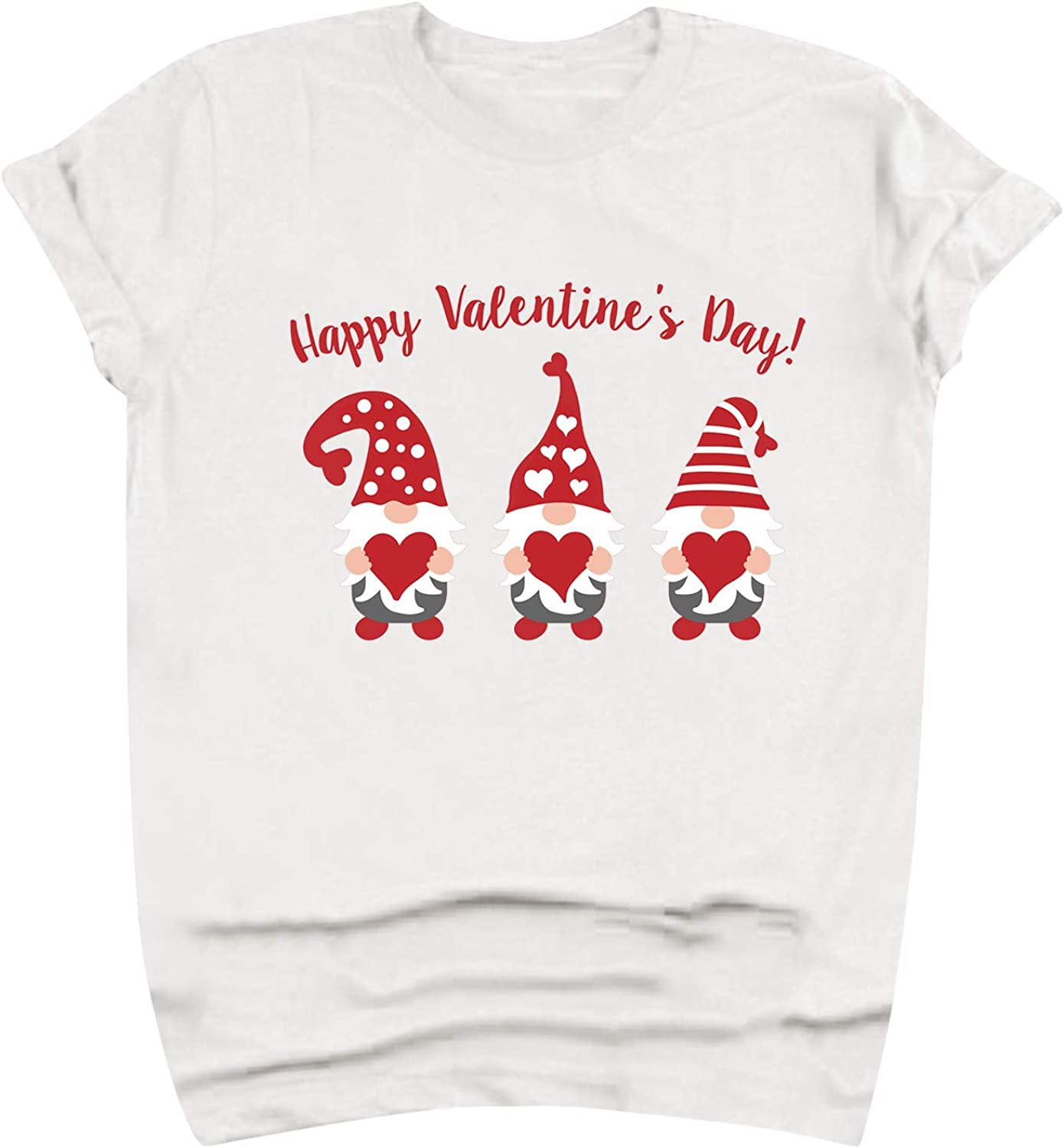 vcsheh Valentine's Day Shirt for Womens Cute Cartoons T-Shirt Red Heart Printed Shirts Short Sleeve Graphic Tees Tops
