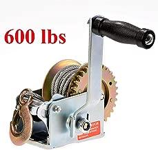 Aceshin Heavy Duty Hand Winch, 600Lbs Hand Crank Strap Cable Gear Winch ATV Boat Trailer