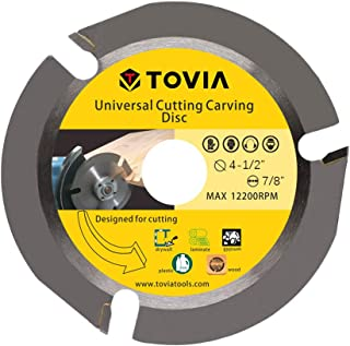 TOVIA 3 Teeth Wood Cutting Shaping Disc for Angle Grinder,Multipurpose Carving Wheel,Stump Log Grinder Attachment with 7/8