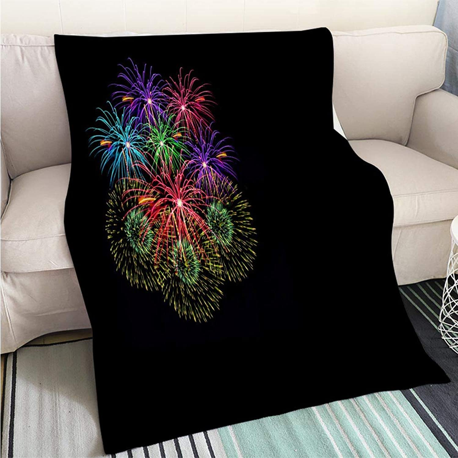 BEICICI Comforter Multicolor Bed or Couch colorful Fireworks Celebration and The Midnight Sky Background Living Room Bedroom Warm Blanket